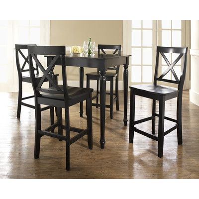 Crosley Furniture 5 Piece Pub Dining Set With Turned Leg And X Back Stools  In Black Finish     Lowest Price Online On All Crosley Furniture 5 Piece  Pub ...