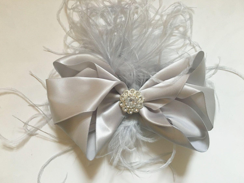 silver satin hair bow feather fascinator, flower girl hair bows