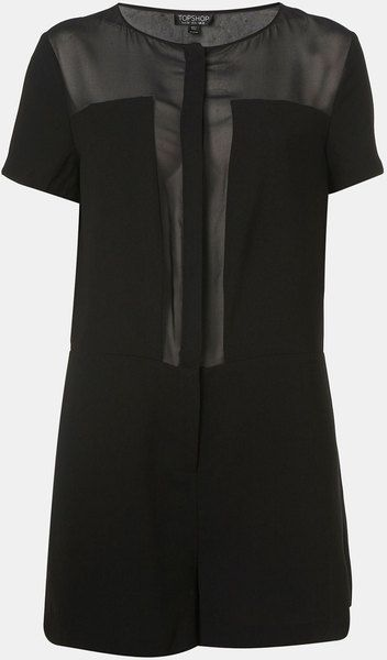e00725755ba2 Sheer Panel Romper - Lyst | style | Topshop, Nice dresses, Rompers