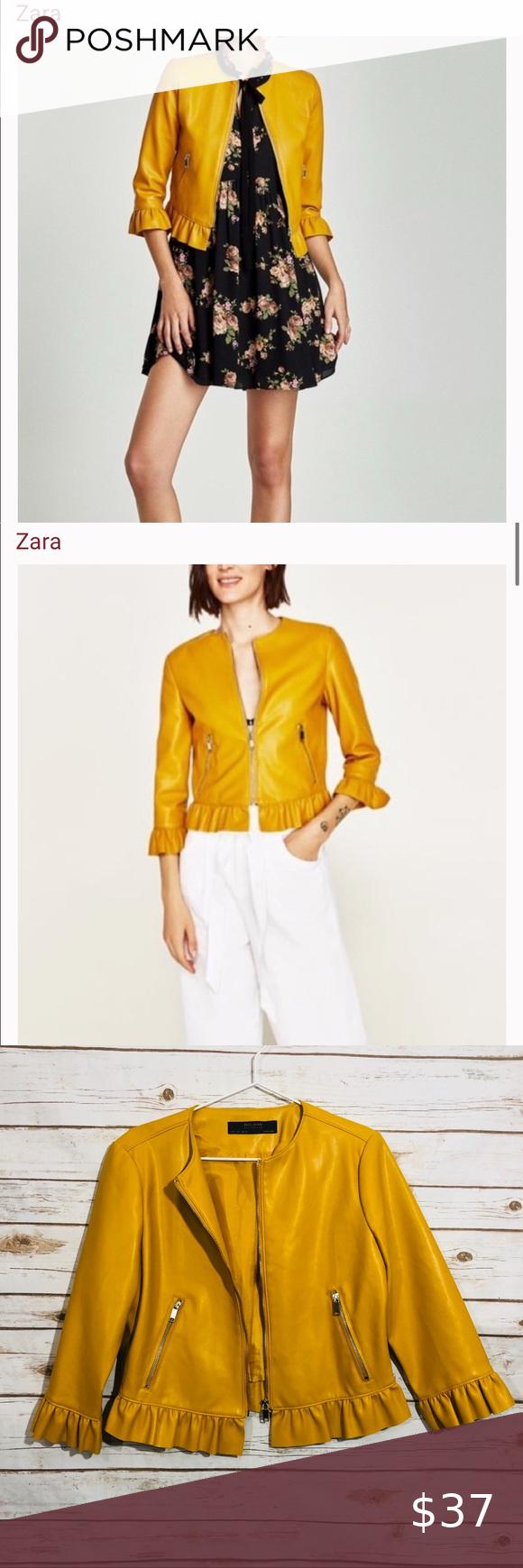 Faux Leather Zara Yellow Jacket in 2020 Zara, Zara basic