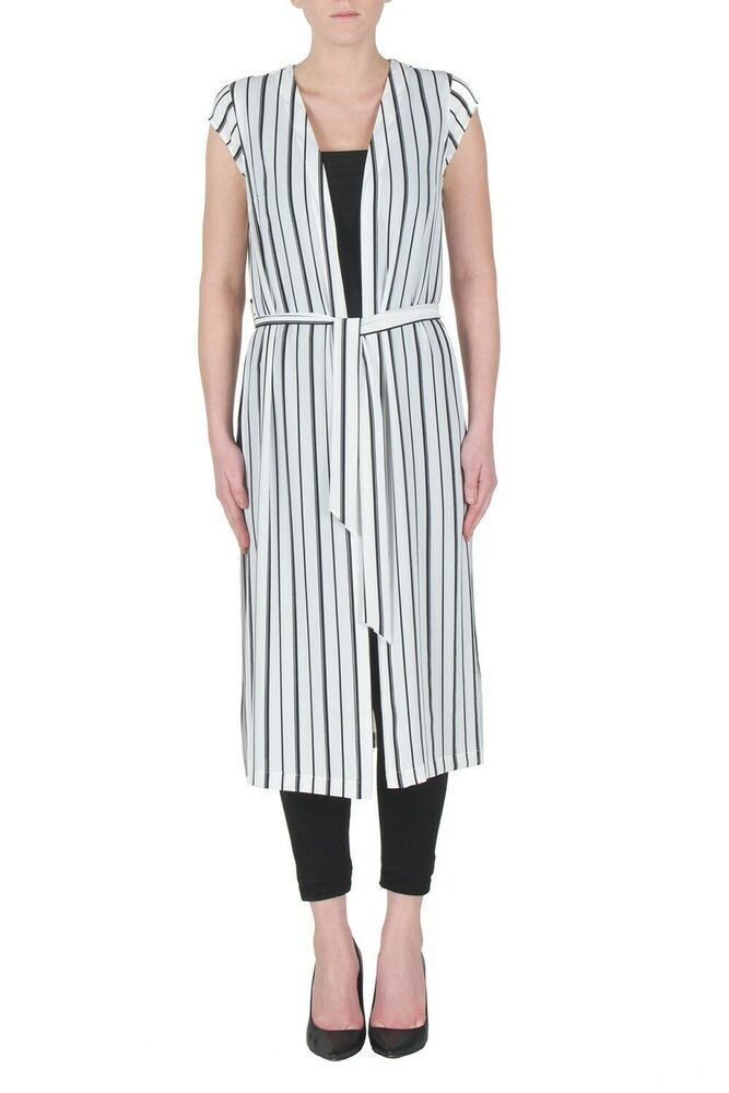 Joseph Ribkoff Black White Checked Loose Knit Asymmetrical Cover Up 183890 NEW
