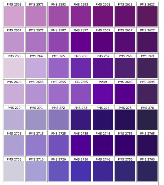 Violetas Mlyn Design Works Purple Color Chart Pantone