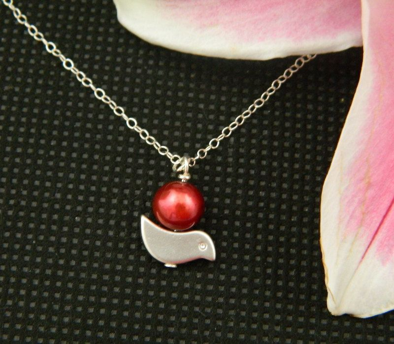 Bird Necklace, Red Pearl Necklace, STERLING SILVER, Birthday Gift, Flower girl Gift, Charm Necklace. $20.00, via Etsy.