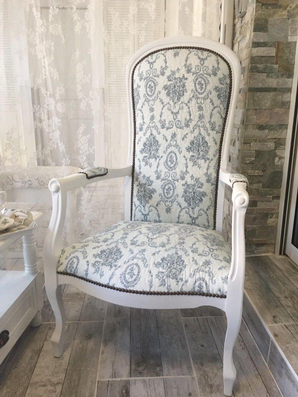 Restaurer Fauteuil Voltaire Moderne fauteuil restauré fait-main français bois blanc toile de