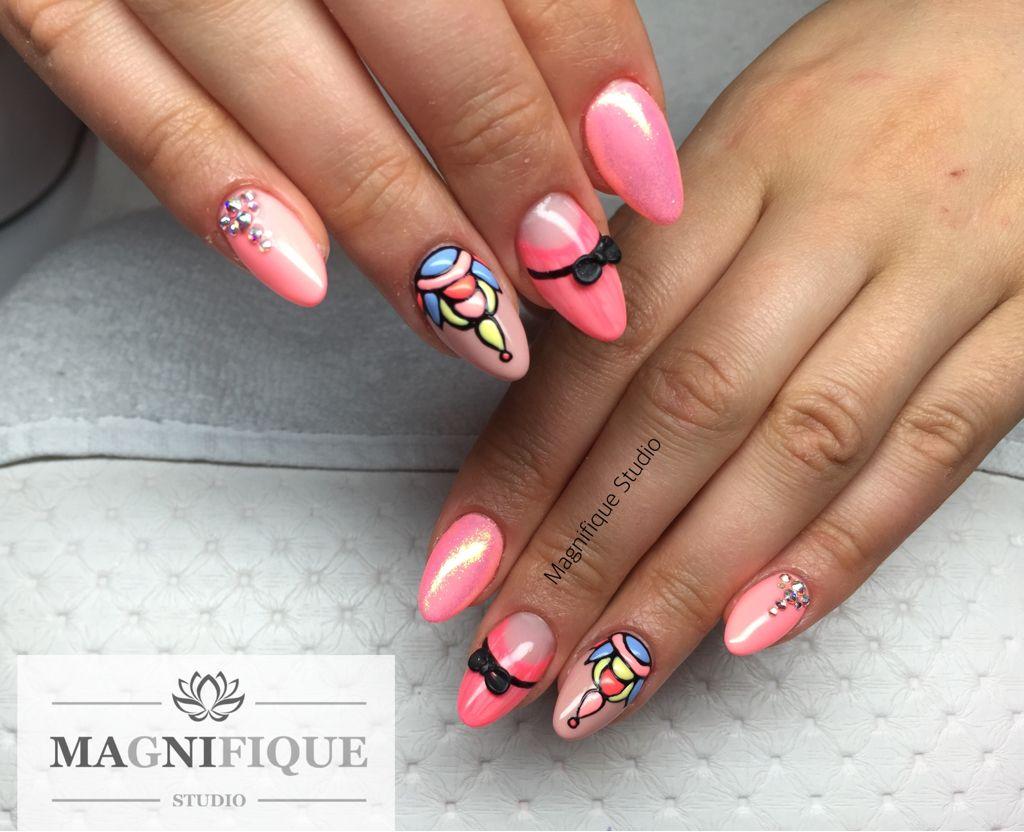 Rosa Nails 3d Design Swarovski Nail Design Pinterest 3d Design