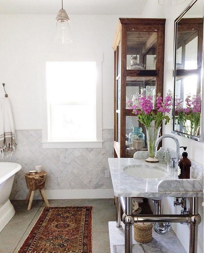 Bathroom Herringbone Wall Tile Bathroom Half Wall With
