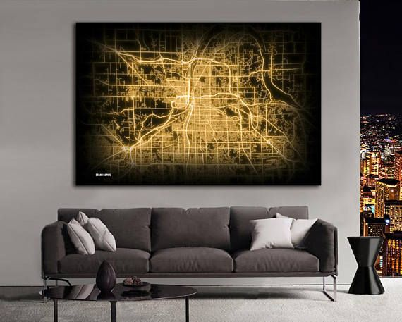 Grand Rapids Michigan Night Lights Map Large Horizontal Wall Art Map
