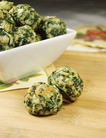 Spinach Balls - these can be pre-made and frozen. I think these would be great in spaghetti or as an appetizer.