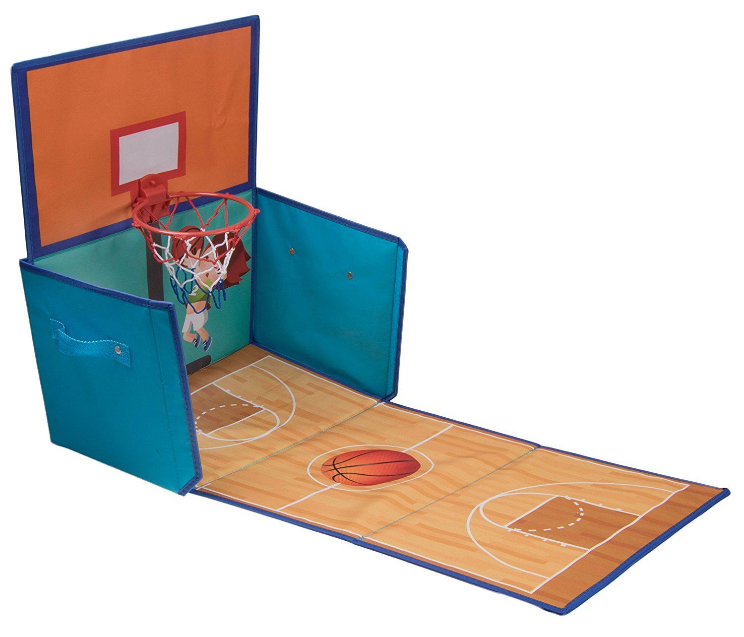 folding basketball hoop toy organizer by clever creations toy box