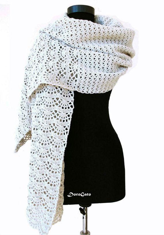 Crochet shawl pattern stole pattern woman shawl by PatternsDG | xals ...