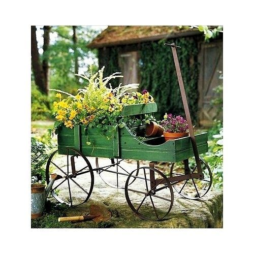 Wooden Garden Planter Wagon Flowers Display Outdoor Decorative Patio  Furniture #CollectionsEtc