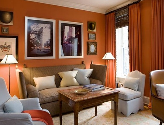 burnt orange paint color living room desk in the rustic classic interior with a background is