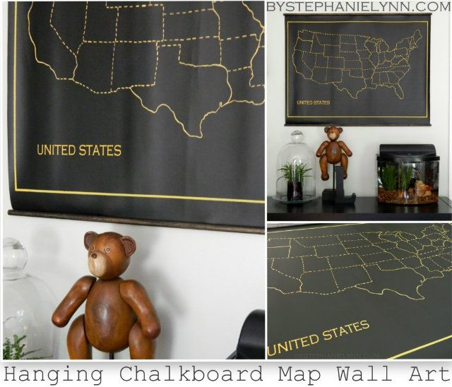 Hanging Chalkboard US Map Playroom Wall Art Inspired By - Us map canvas wall art