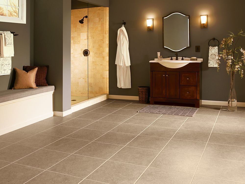 Armstrong Luxury Vinyl Tile | LVT | Beige Stone Look | Bathroom Ideas