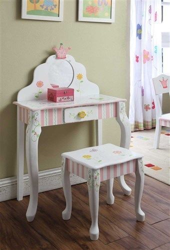 Little Girls Vanity Table And Chair | Girls Childrenu0027s Kids Princess Crown  U0026 Frog Vanity Table U0026 Chair Set W ..