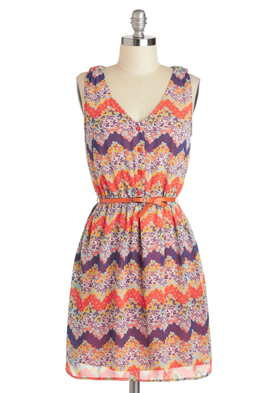 Spring to life dress short red purple multi print buttons