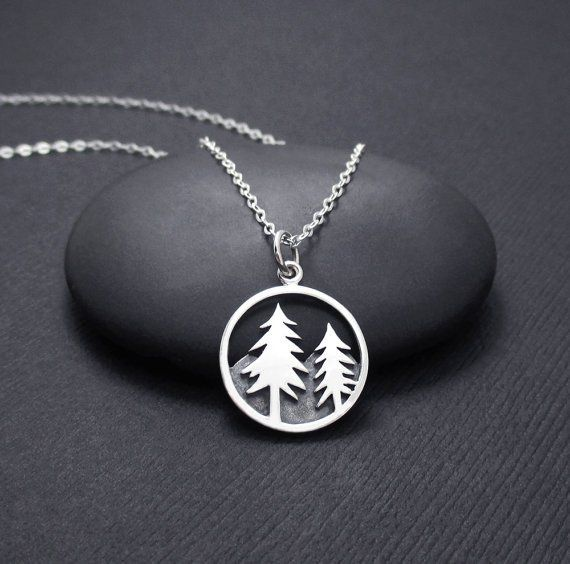 Mountain Scene Necklace Tree and Mountain Necklace, Mountain Range Necklace, Pine Tree Necklace, Nature Jewelry