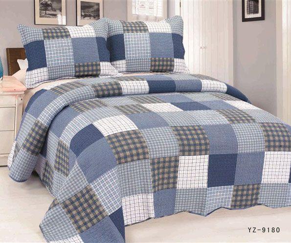 Pas cher Bleu patchwork quilting par la mode couvre lit réglé