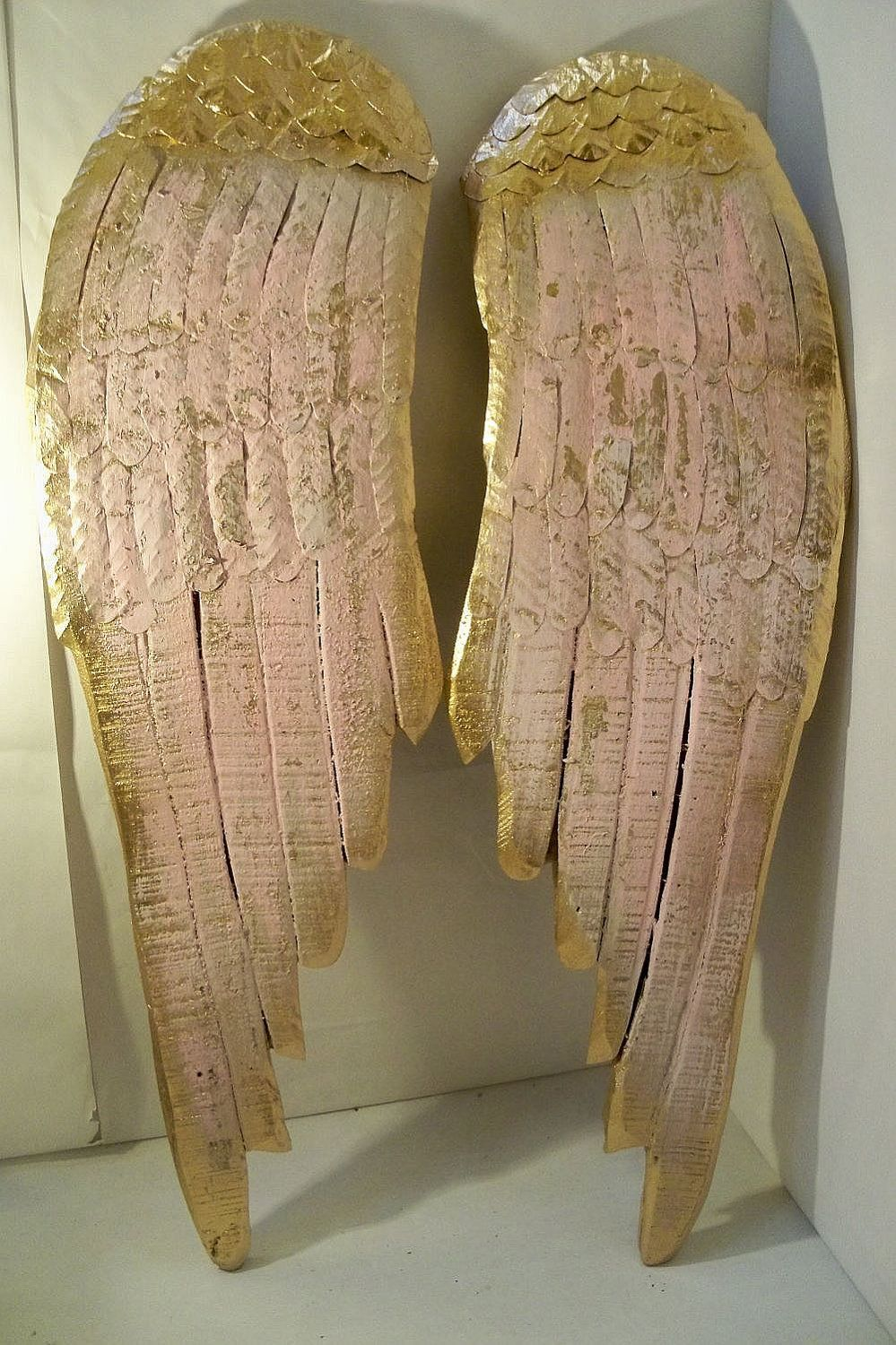 Angel wings large wood metal carved wall sculpture french decor