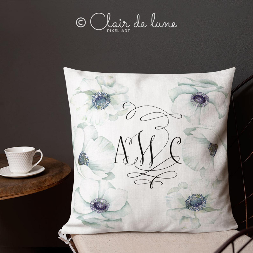 Watercolor Anemones square Pillow with your monogram, made to order, great wedding gift #pictureplacemeant