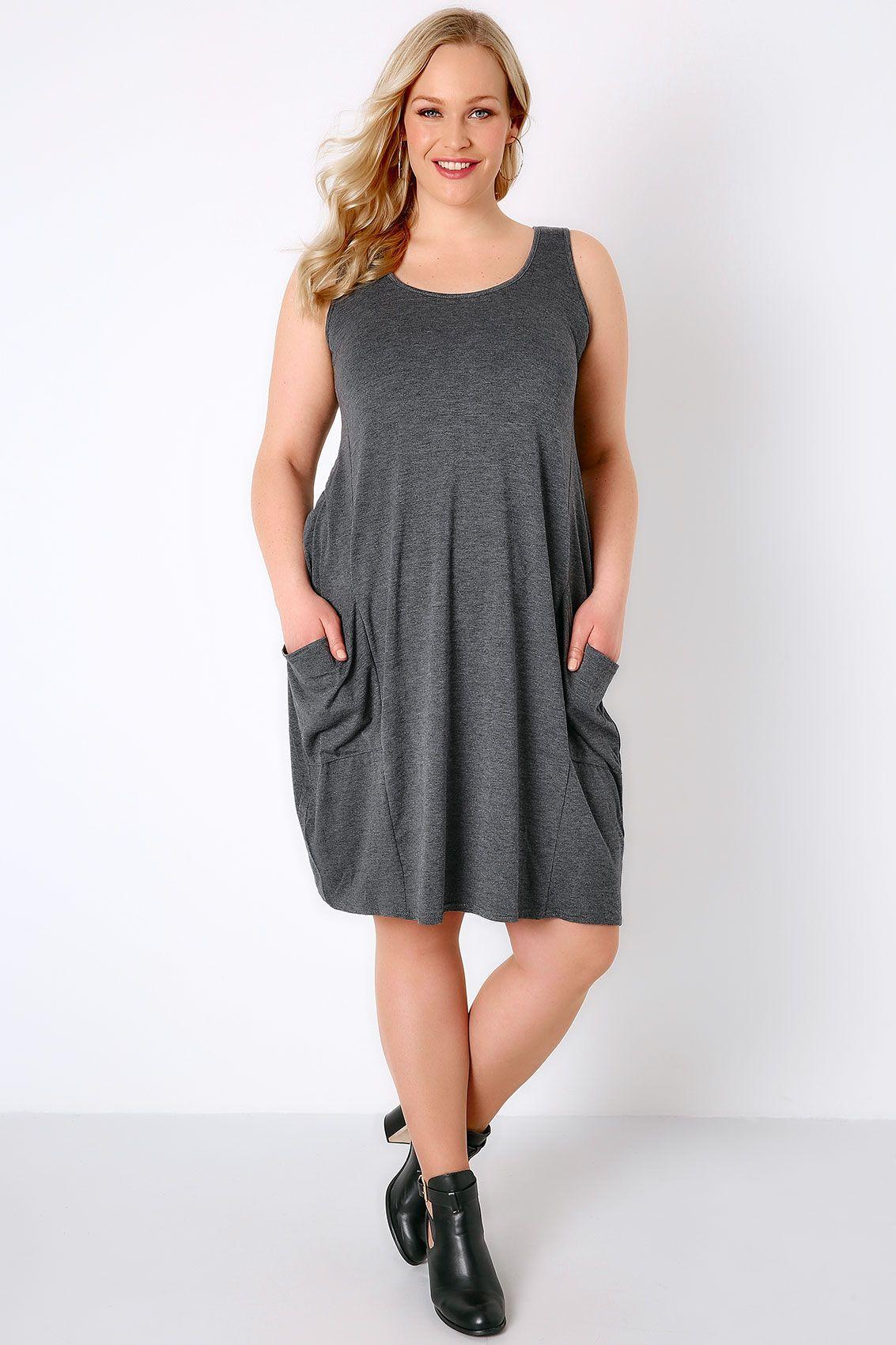 2931af288c5 Dark Grey Marl Drape Pocket Sleeveless Jersey Dress Plus Size 14 to 32