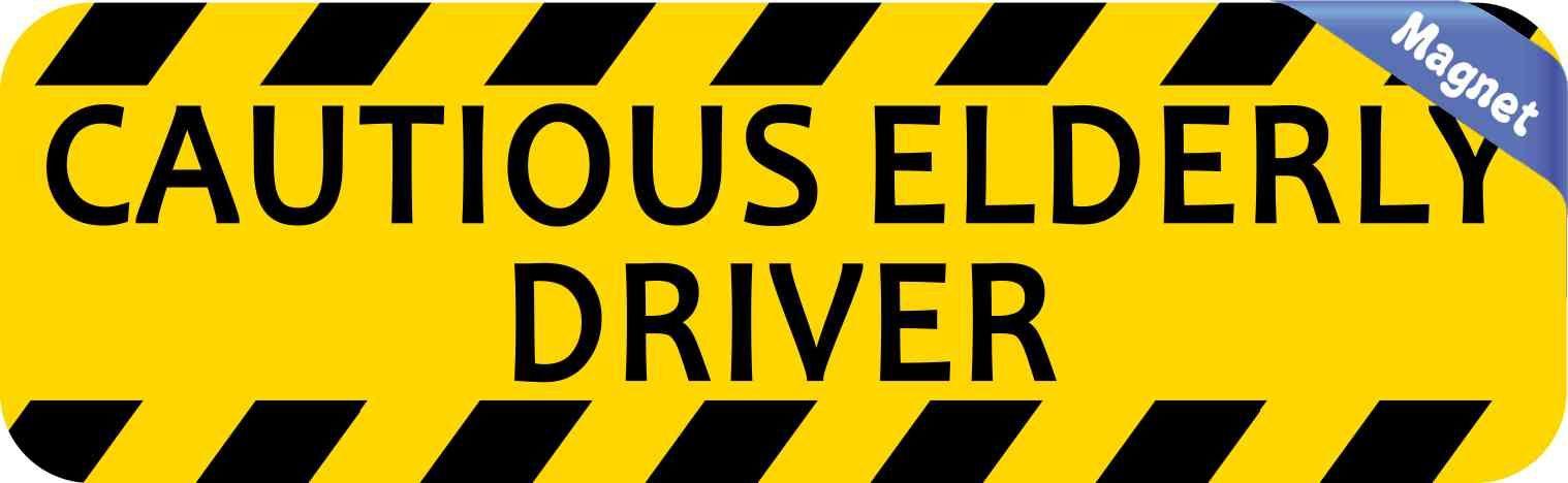 10inx3in cautious elderly driver bumper magnet vinyl magnetic door decals
