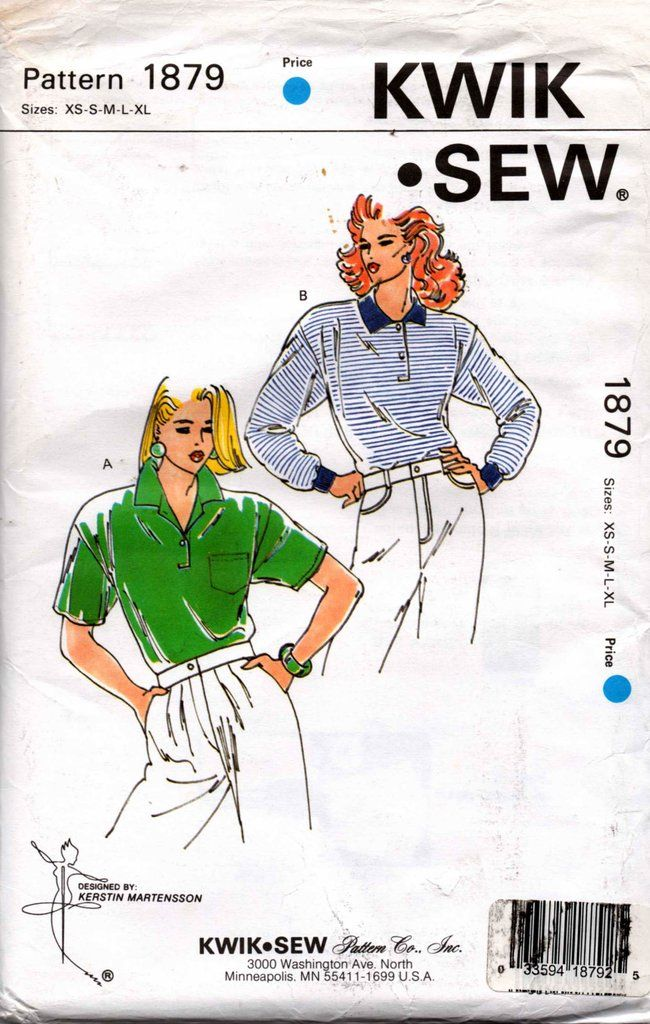 Kwik Sew 1879 Womens Stretch Polo Rugby Shirts 80s Vintage Sewing ...
