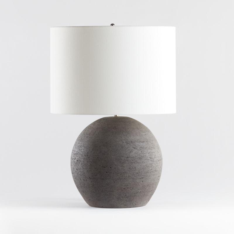 Esphera Grey Round Table Lamp Crate And Barrel In 2020 Round Table Lamp Table Lamp Lamp