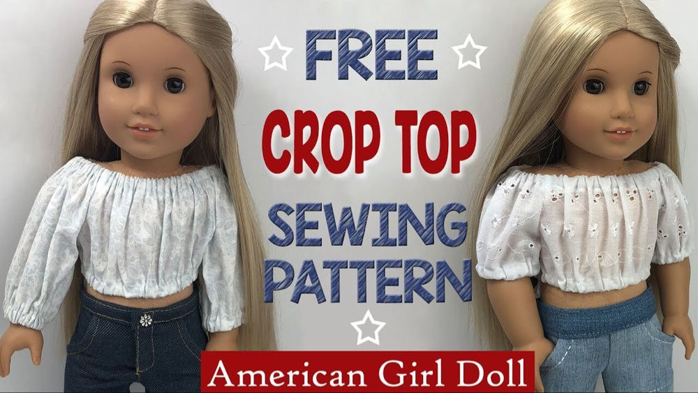 How to sew a Crop Top Shirt for American Girl Doll. Free pattern DIY