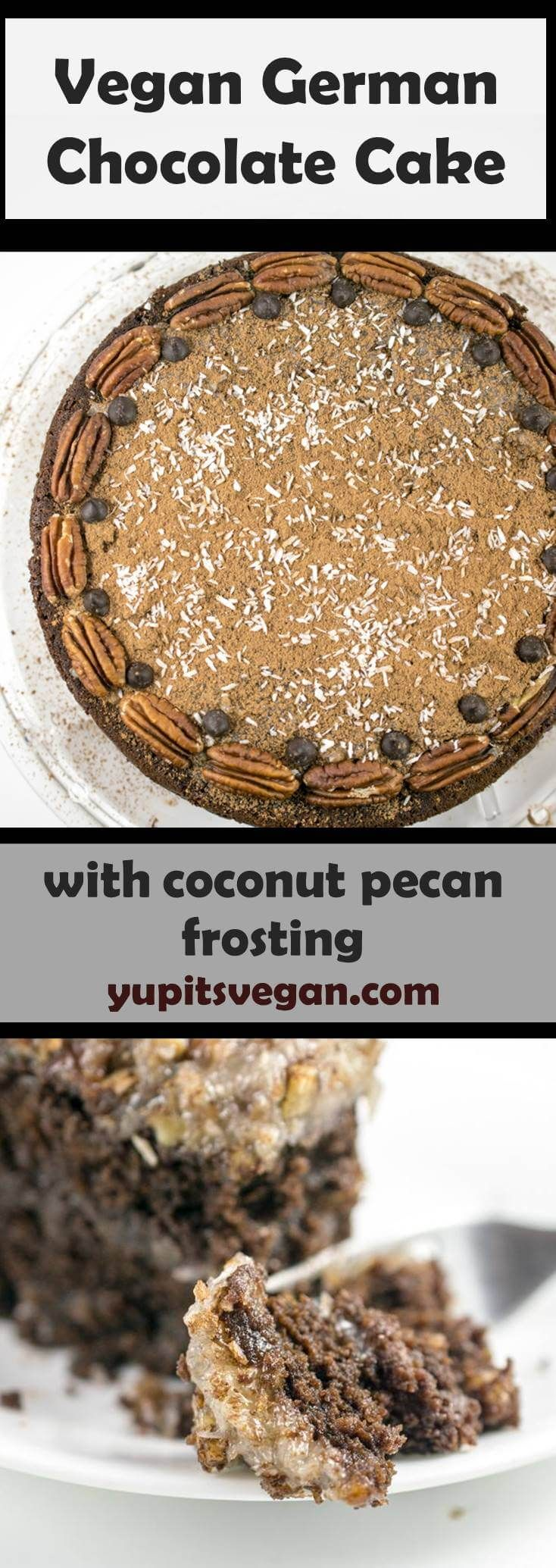 Vegan German Chocolate Cake: Fluffy layers of egg-free, dairy-free chocolate cake, topped with decadent toasted coconut pecan custard frosting. #germanchocolatecheesecake