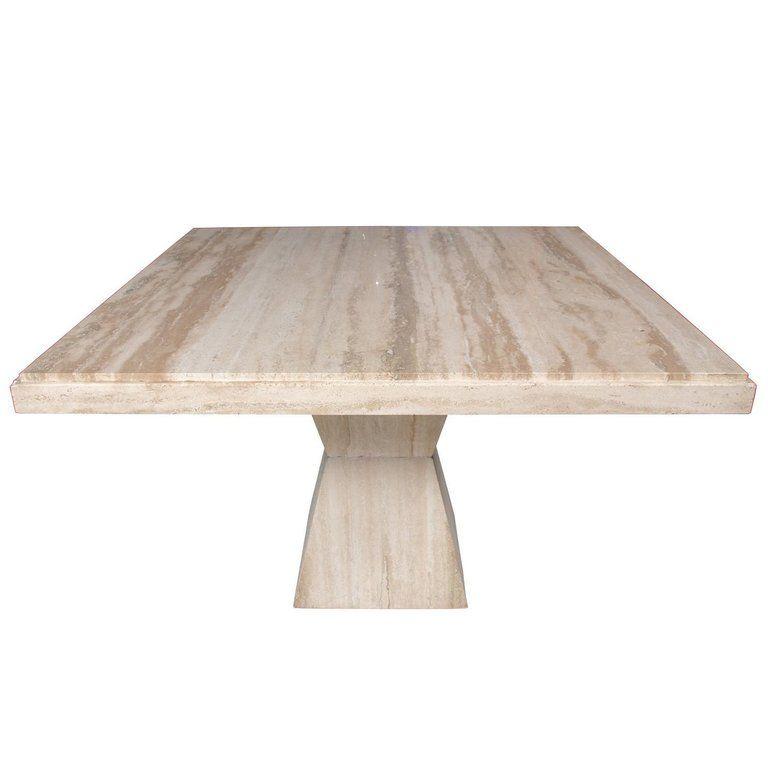 Midcentury modern square travertine table midcentury