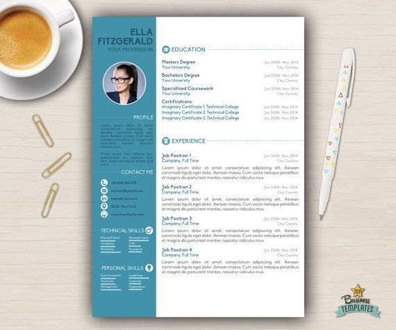 Resume Template, a stylish creative resume template for Word with 2 ...