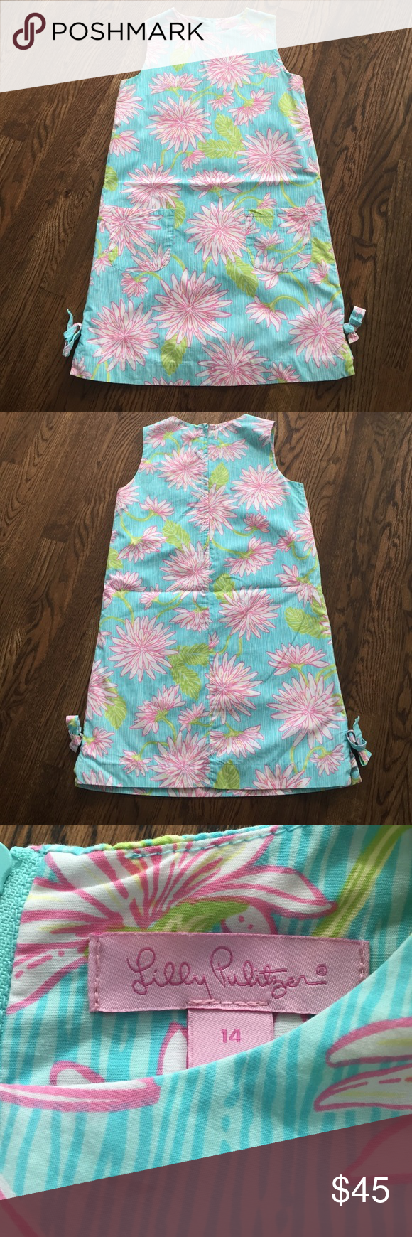 Lilly Pulitzer Shift Dress Super cute  Like New Lilly Shift Dress , Fully Lined, Zipper in Back. Bows on each side lower bottom of dress Lilly Pulitzer Dresses Casual