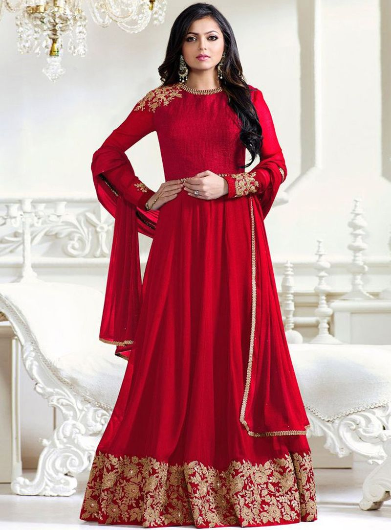 0838448e9f Buy Drashti Dhami Red Georgette Long Anarkali Suit 94817 online at lowest  price from vast collection at m.indianclothstore.c.