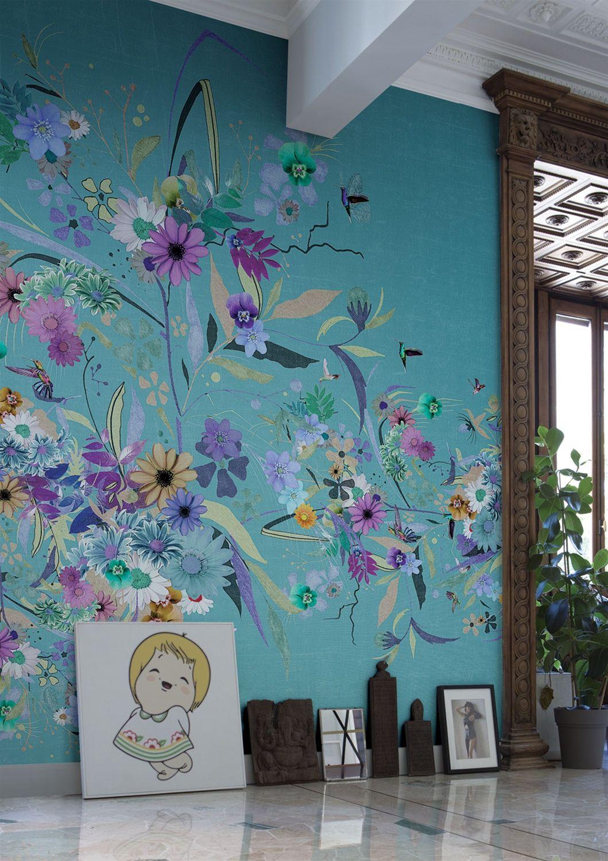 Carta da parati fiori tappezzerie d 39 arredo nel 2019 for Carta d arredo