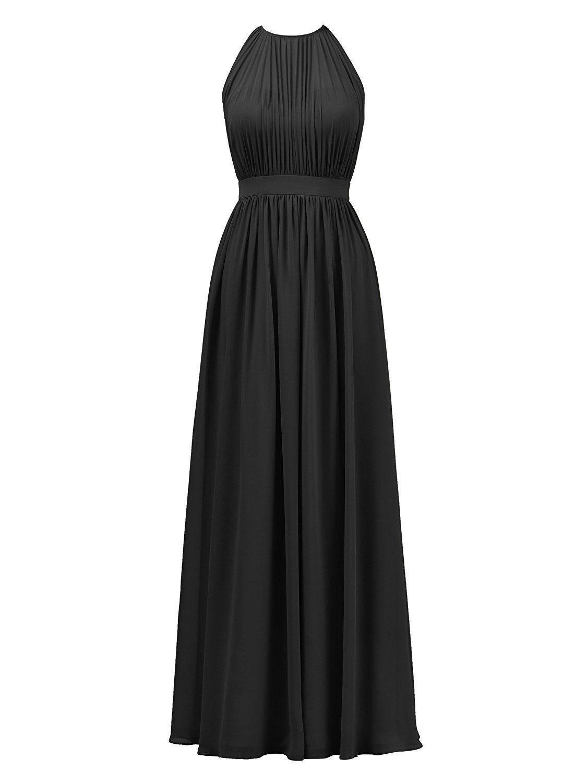 e9923a4b4e1 Alicepub Halter Illusion Bridesmaid Dress Chiffon Formal Evening Prom Gown  Maxi at Amazon Women s Clothing store