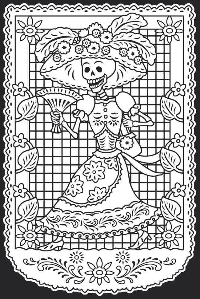 Dia De Los Muertos Female With Hat Coloring Pages