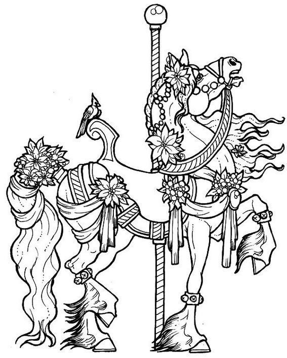Very Detailed Gorgeous Decorated Carousel Horse Coloring Pictures Horse Coloring Pages Animal Coloring Pages Horse Coloring