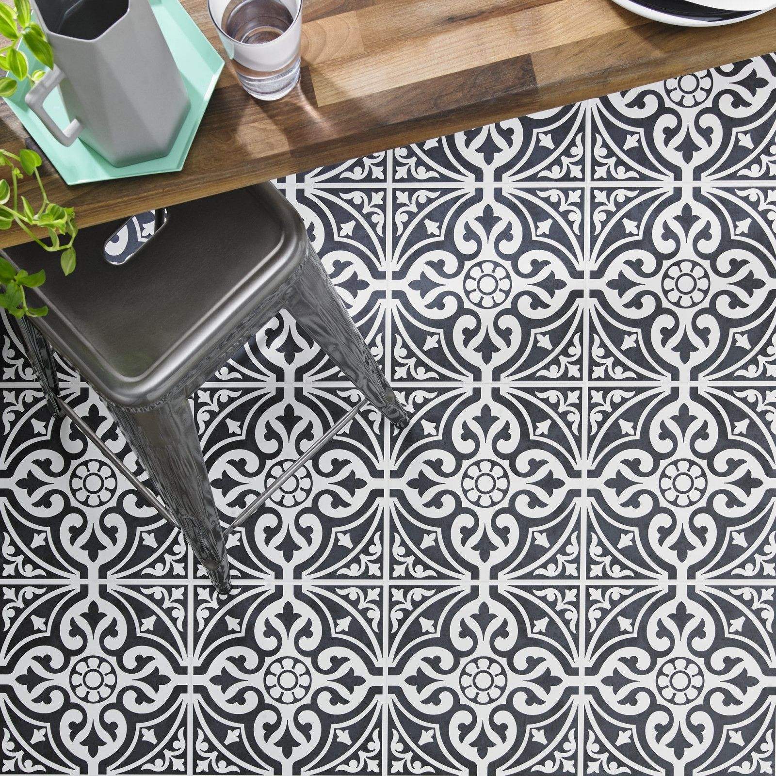 A Traditional Looking Black Patterned Floor Tile Designed With A