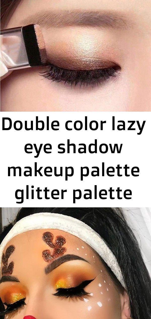 Double color lazy eye shadow makeup palette glitter palette eyeshadow pallete waterproof glitter e