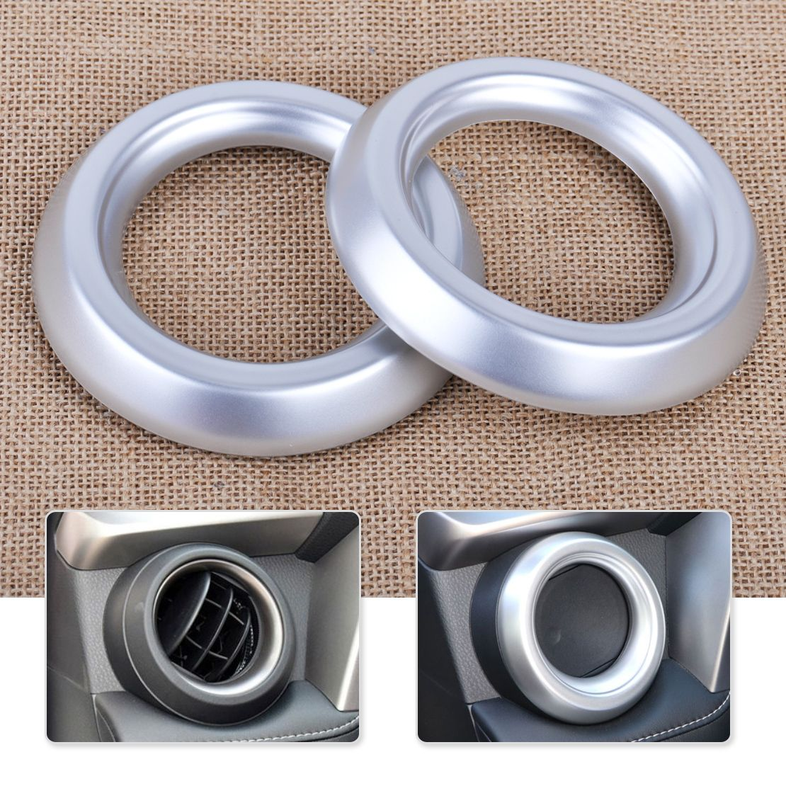 Car-styling 2pcs ABS Plastic Chrome Plated Front Air Vent AC Outlet Frame Cover Trim & Car-styling 2pcs ABS Plastic Chrome Plated Front Air Vent AC Outlet ...