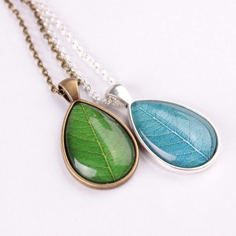 Kittenup new fashion green blue leaves shaped glass pendant necklace kittenup new fashion green blue leaves shaped glass pendant necklace for women femme leaf jewelry mozeypictures Choice Image