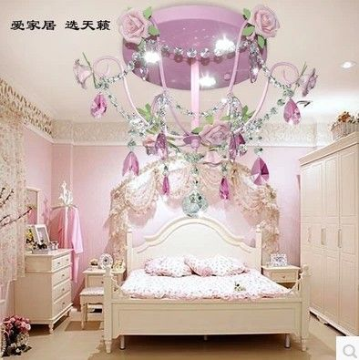 Pink Princess Korean Pastoral Flowers Sitting Room Light Children