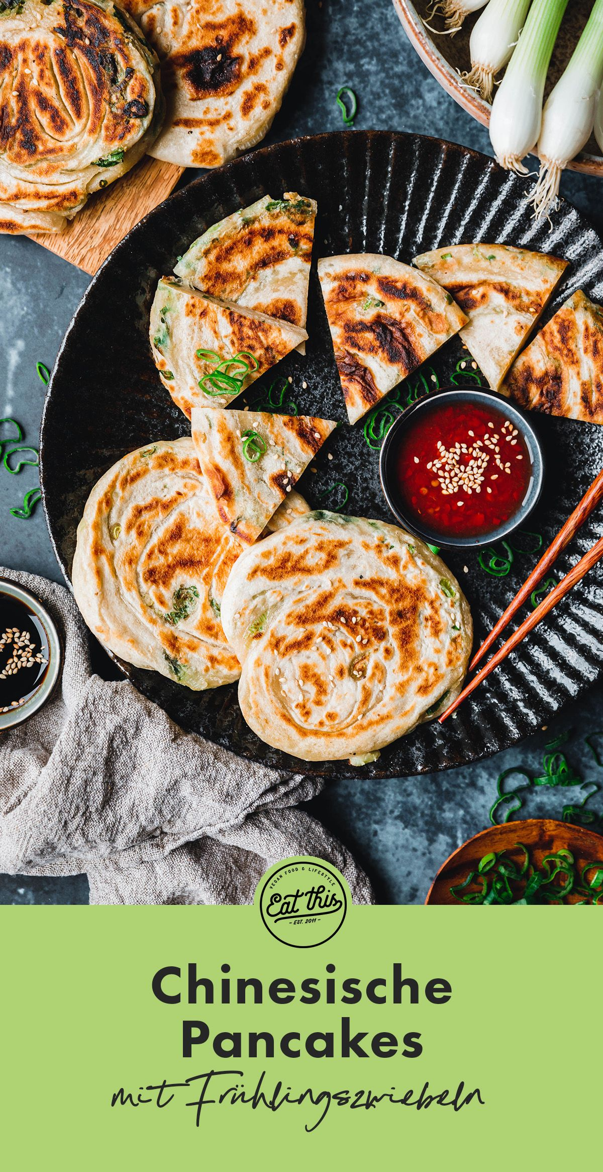 Photo of Chinese spring onion pancakes or cong you bing
