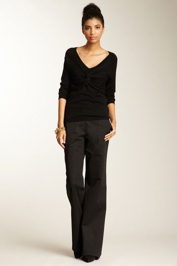 5d7ec159e7d Trina Turk Glenda Pant + black v-neck + top knot All Black Outfit For