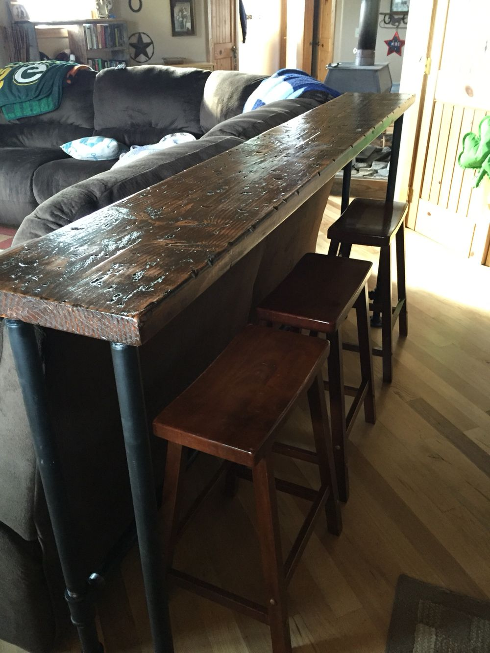 behind the sofa table where to buy online couch bar top 1 inch pipe and 2x12 stained wood