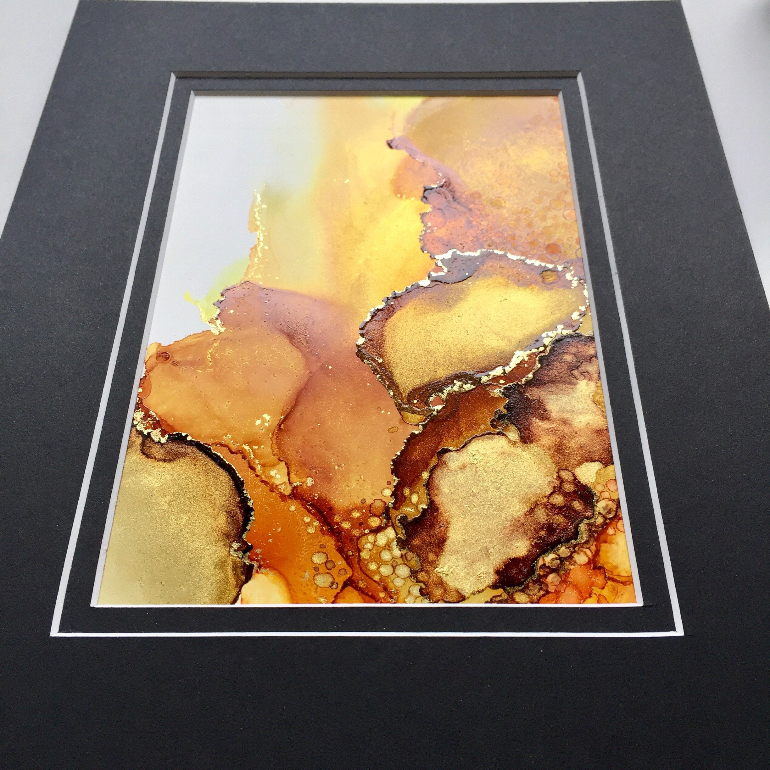 ORIGINAL Abstract Alcohol Ink Matted Painting -- Abstract Art, Wall ...