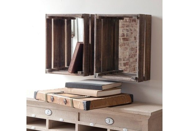 Wood crates with mirrors