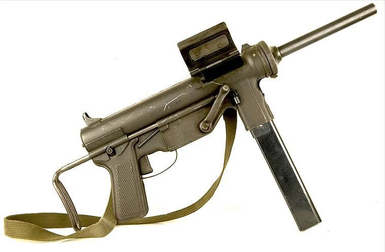 """Submachine Gun, Cal.45, M3 """"Grease Gun"""", Ugly, inexpensive, durable. Used from WWII through Vietnam"""