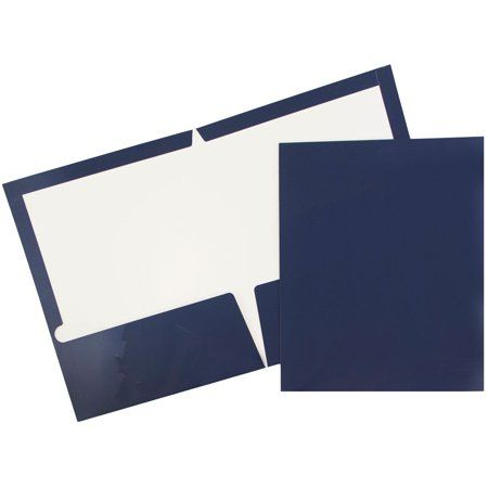 JAM Paper Two Pocket Glossy Presentation Folder, Navy Blue
